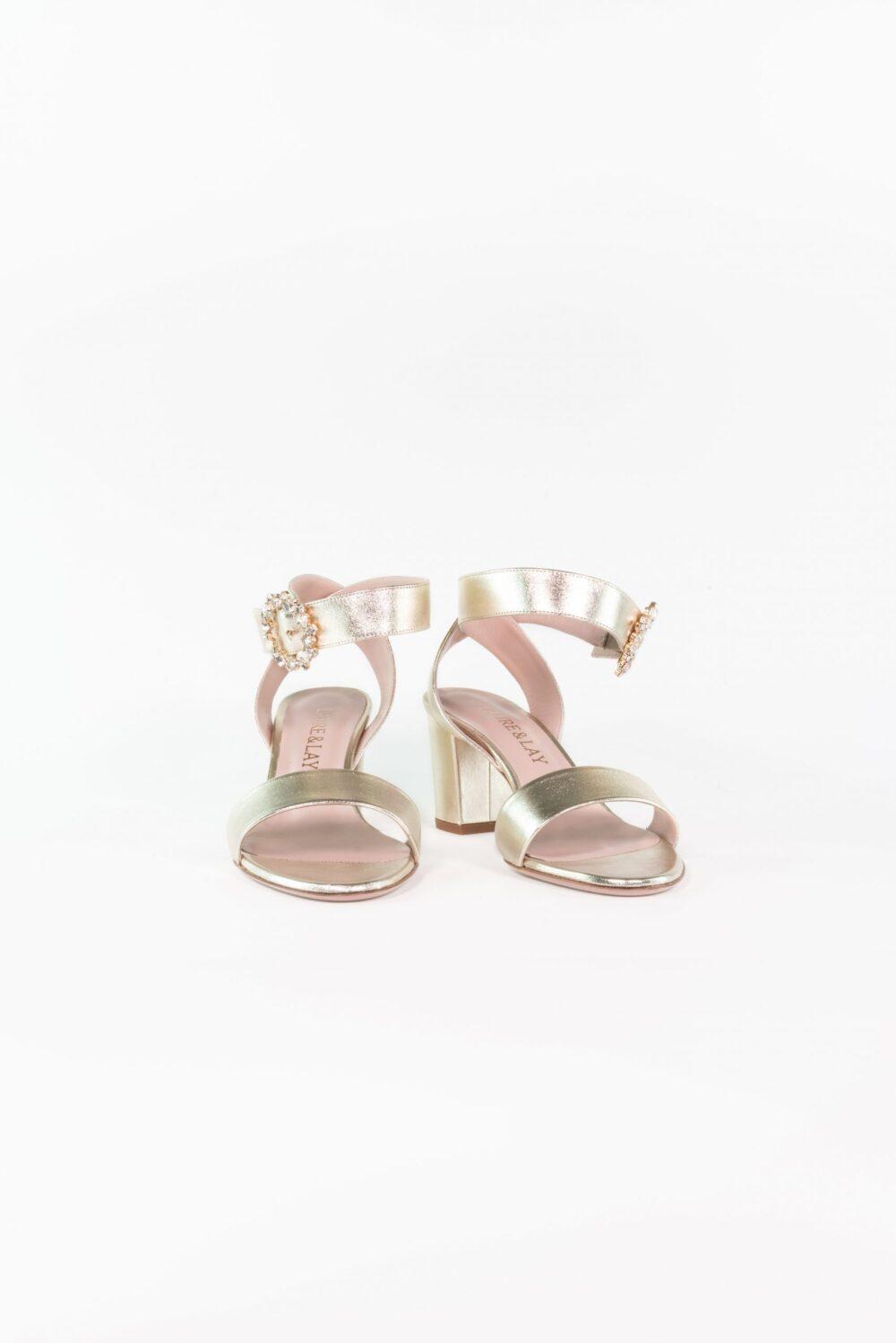 metallic leder abendschuh gold ankle strap clara