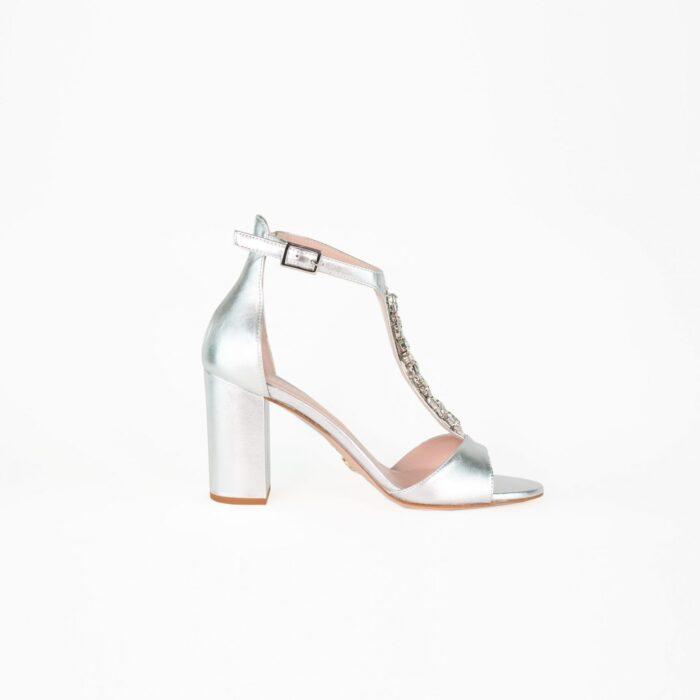 designer brautschuh sandale silber glitzer t-bar alina laure&lay