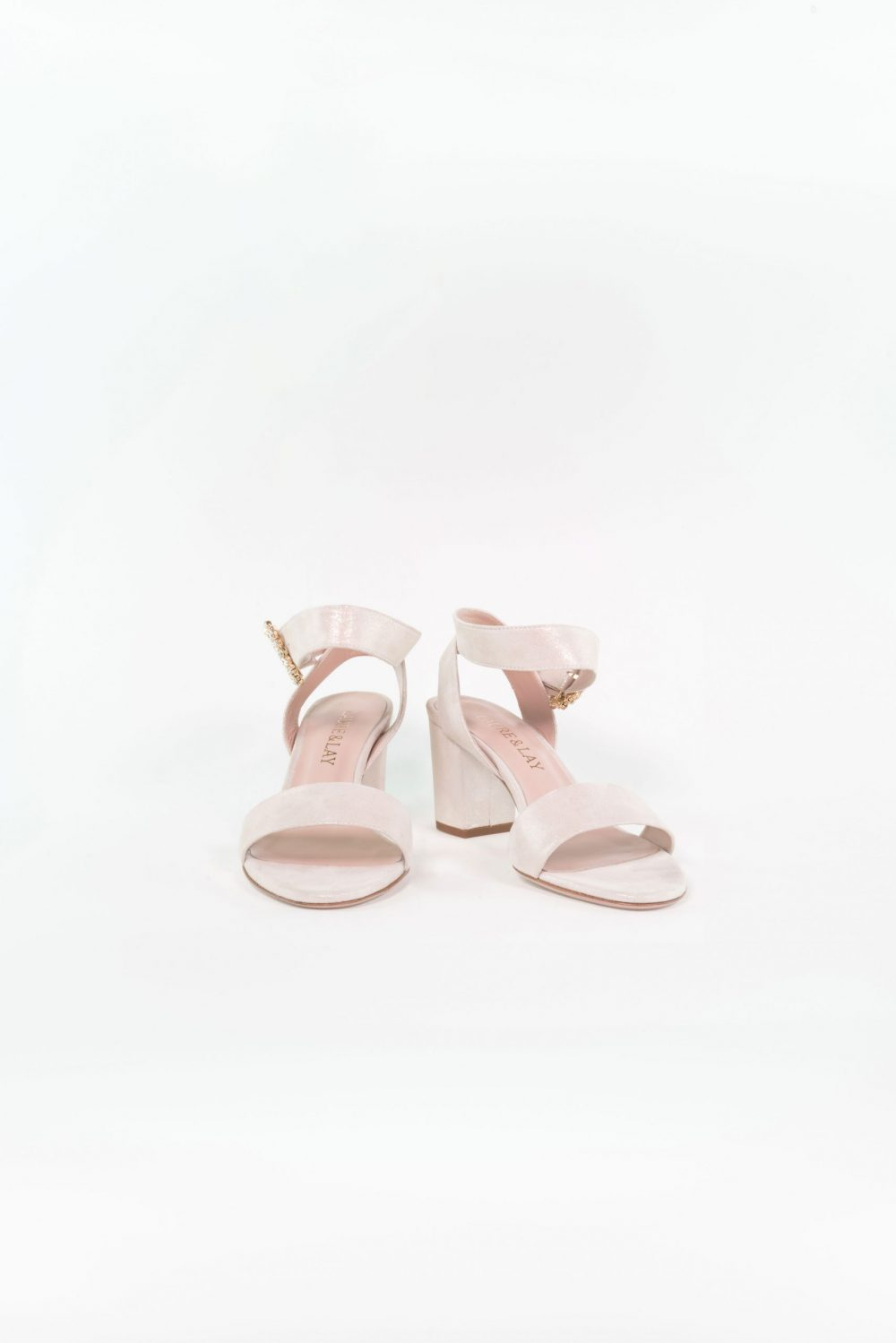 Leder Brautschuh Clara champagne Ankle Strap