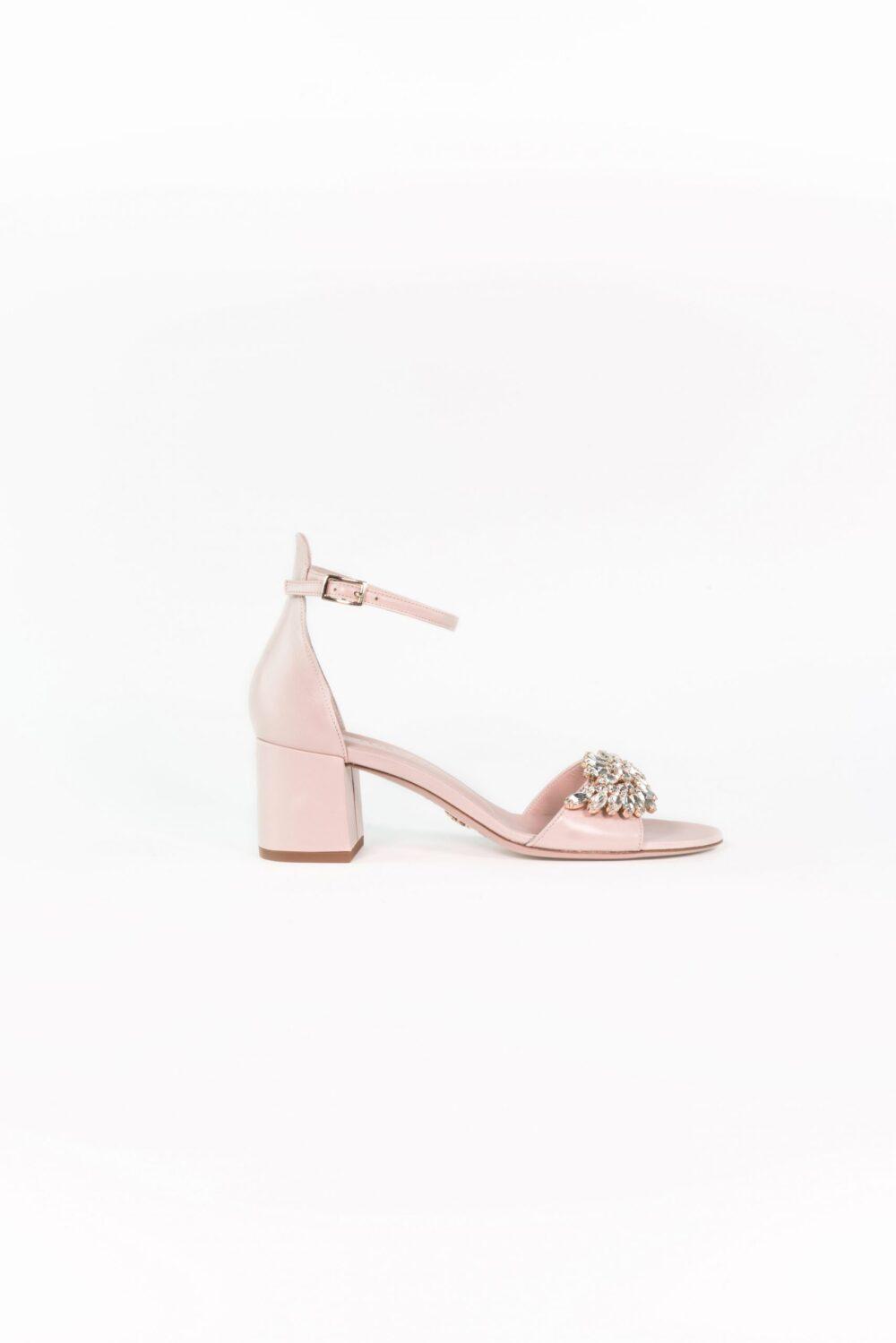 designer hochzeitsschuh nude rose leder blockabsatz elena