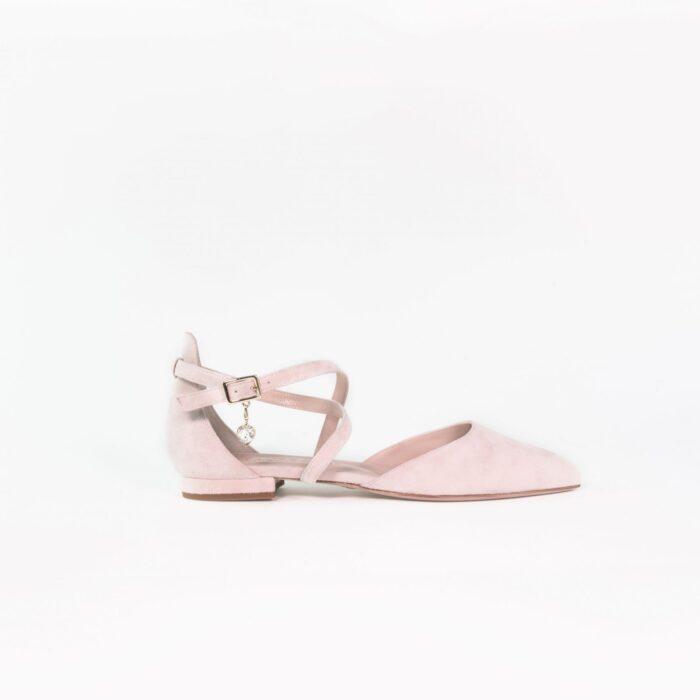 designer brautschuh nude rose flach charm greta