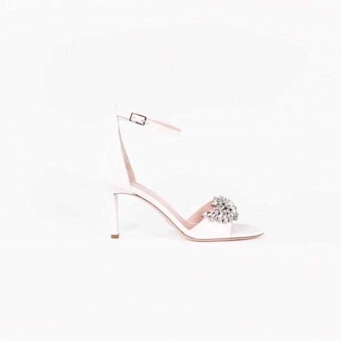 designer laure lay brautschuh weiß modern linda ankle strap
