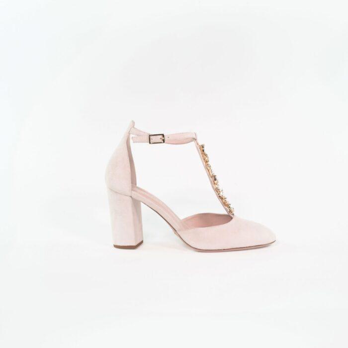 Designer Brautschuh Mara Sand Ankle Strap