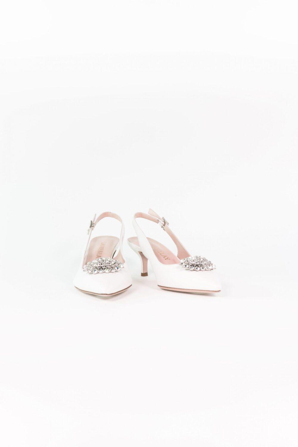 laure lay brautschuh weiß slingback elegant