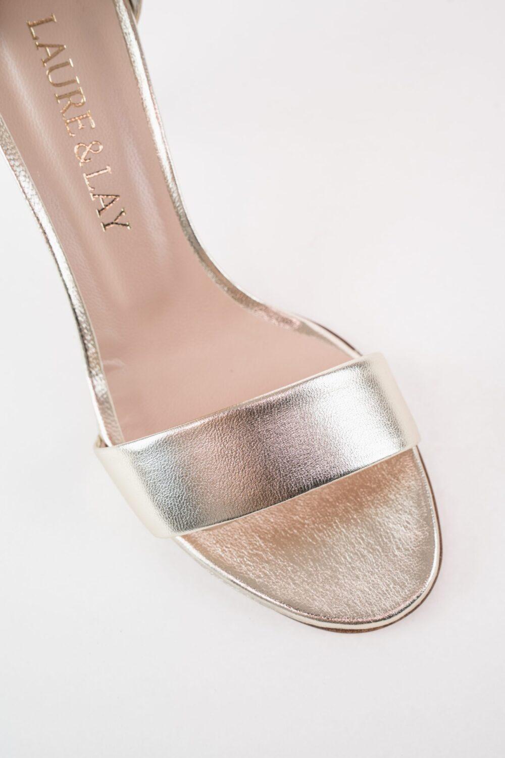 premium abendschuh gold metallic leder clara