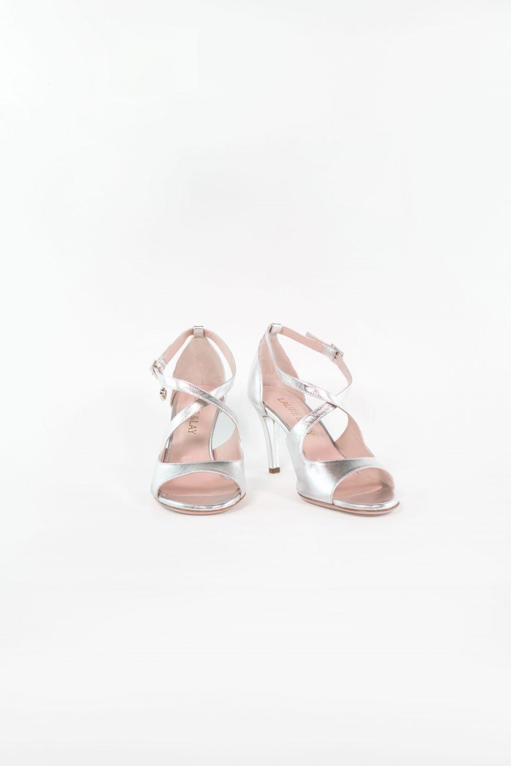 Sandale Leonie in silber mit Cross Strap