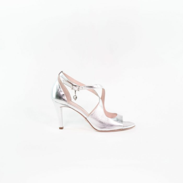 Hochzeitsschuh Sandale silber hochwertig Leonie